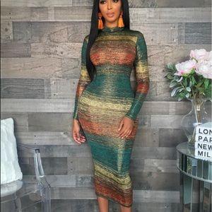 🦋🦋 Striped Long Sleeve Collar Maxi Dress Size XL